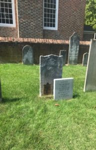 Lucy Grymes Nelson original tombstone with plaque and commemorative marker distance