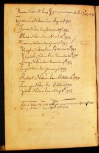 Nelson Family Bible. Courtesy of Colonial Williamsburg. Inscriptions